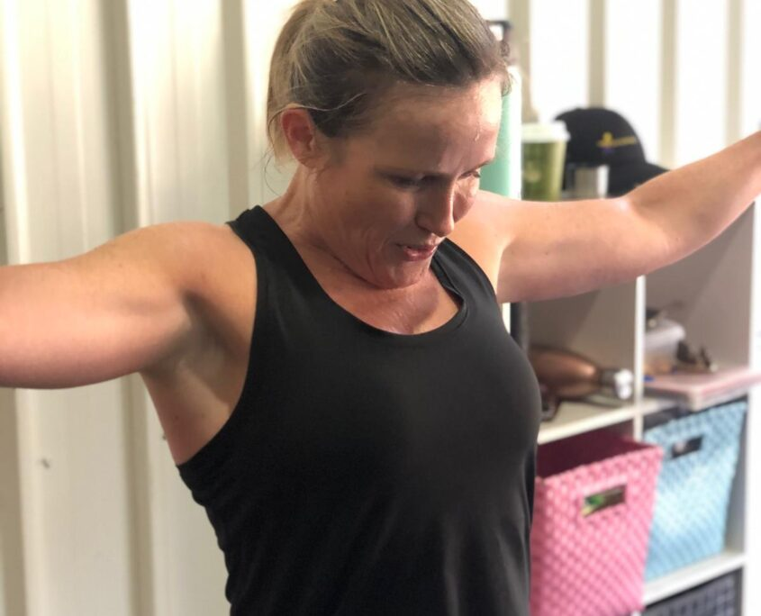 Pumping iron at our gym in Kedron